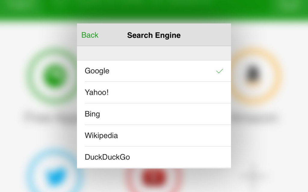 Dolphin for iPhone: Select Search Engine