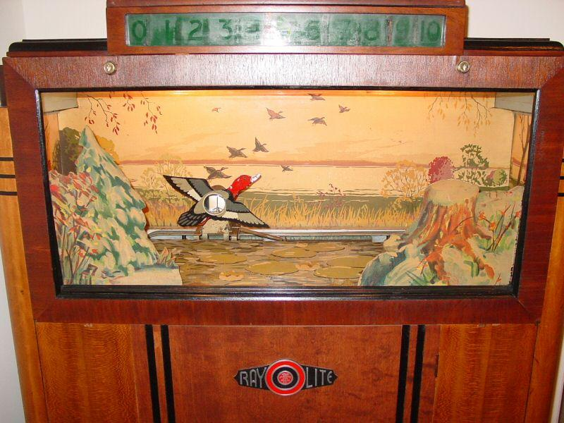 The Seeburg Ray-O-Lite was the first light gun game. It was made in January 1936 by Seeburg. Gameplay involved shooting a flying duck which would then drop when hit.